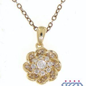 Cluster Diamond Flower Shaped Pendant Yellow Gold